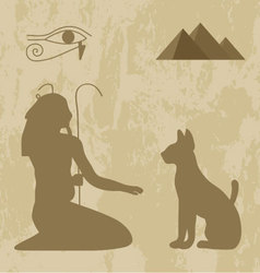 Egyptian god cat on a grunge background vector