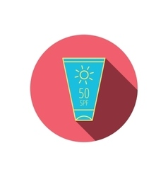 Sun cream container icon beach lotion sign vector
