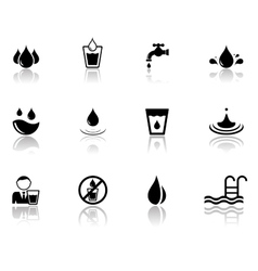 Set of water icons with reflection silhouette vector