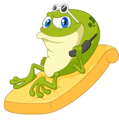Cartoon frog relax vector