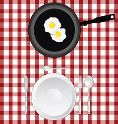 tablecloth with egg and plate vector image