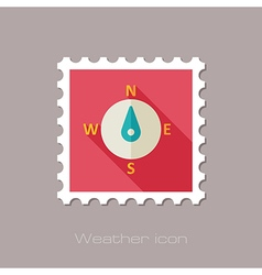 Compass flat stamp meteorology weather vector