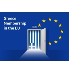 European union flag wall with greece flag door eu vector