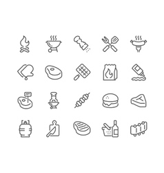Line barbecue icons vector