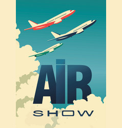 air show poster airplane vector image vector image