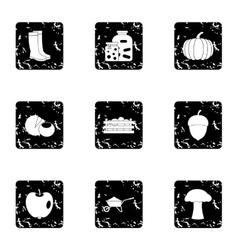 Autumn weather icons set grunge style vector