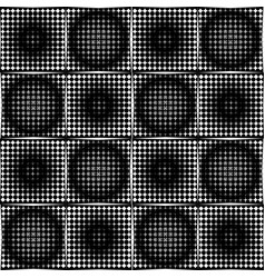Black and white halftone circle pattens in checker vector