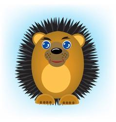 cartoon animal hedgehog on turn blue background vector image vector image
