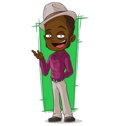 Cartoon cool negro in violet shirt vector image vector image