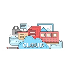 Cloud storage technology - flat line design vector