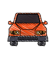 Color crayon stripe cartoon front view car vehicle vector