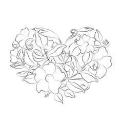Coloring page flower heart Page with details vector image