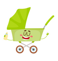 cute and funny baby cart stroller buggy vector image vector image