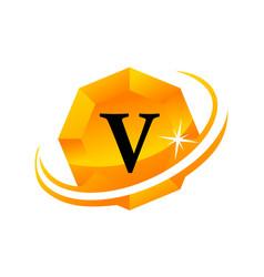 diamond swoosh initial v vector image