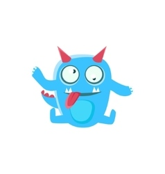 Dizzy Blue Monster With Horns And Spiky Tail vector image vector image