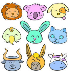 Doodle of animal head colorful collection vector