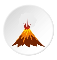 Eruption of volcano icon flat style vector