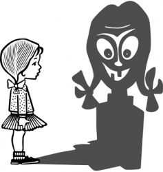 Girl and her angry shadow vector