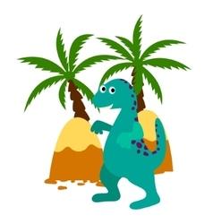 Green happy dinosaur applique vector