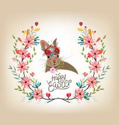 Happy easter card template rabbit cute invitation vector