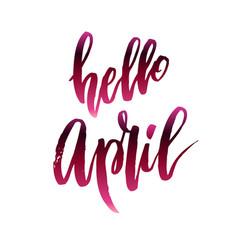 Hello april quote vector