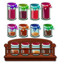Jars with colored bank with spices on wooden stand vector