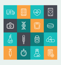 Medicine icons set in line style vector