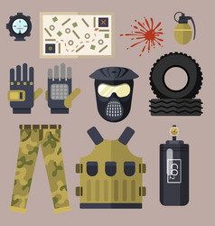 Paintball club symbols icons protection uniform vector