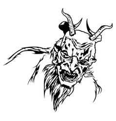 Satan head with scary face vector