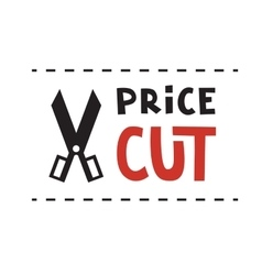 Scissors and Price cut logo vector image
