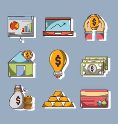 set financial business to commerce economy vector image