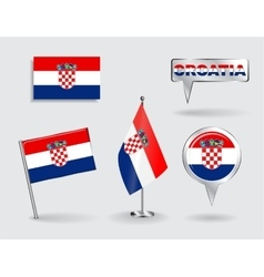 Set of croatian pin icon and map pointer flags vector