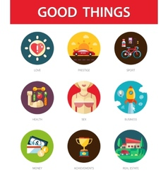 Set of modern flat design mens good things icons vector