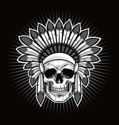 skull of native american indian warrior vector image vector image