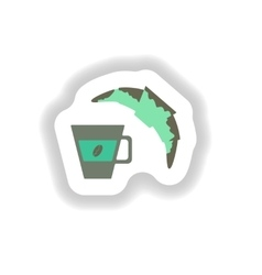 stylish paper sticker cup of coffee and a vector image vector image