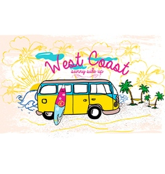Surfing van at the beach vector image