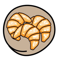 Three Fresh Croissants on Round Brown Background vector image vector image