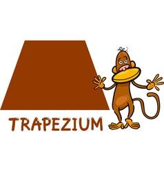 trapezium shape with cartoon monkey vector image vector image
