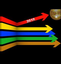 twenty eighteenth coloured arrows and disco ball vector image vector image