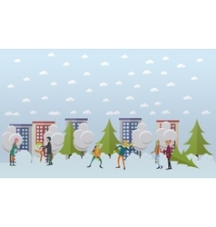 Winter activities christmas time concept vector