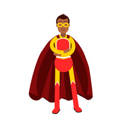 Young smiling masked man in a red superhero vector