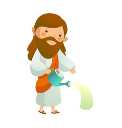 Close-up of jesus christ holding watering can vector