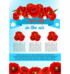 Spring poster of poppy flowers wreath vector