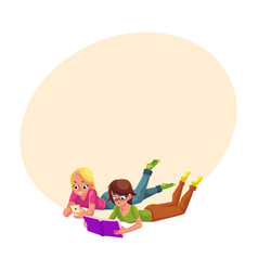 Two girls reading book anf playing with mobile vector