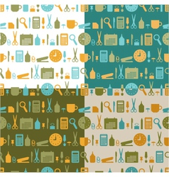 Set of seamless patterns of office stationery vector