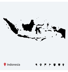High detailed map of indonesia with navigation vector