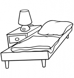 Bed and bedside vector