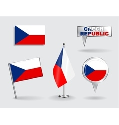 Set of czech republic pin icon and map pointer vector