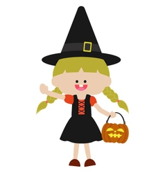 Halloween cute witch vector