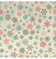 Winter Snow Flakes Seamless Background on Crumpled vector image